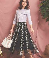 【美人百花4月号掲載/美人百花・Ray3月号掲載】フラワー刺繍チュールスカート