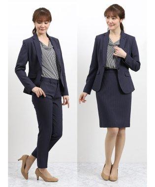ウォッシャブル 1釦ジャケット+スカート+パンツ 青ストライプ