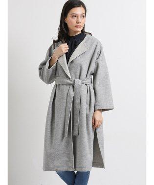 尾州ウール混スタンド変形衿コート