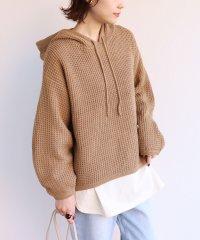 ワッフル編みパーカーニットトップス