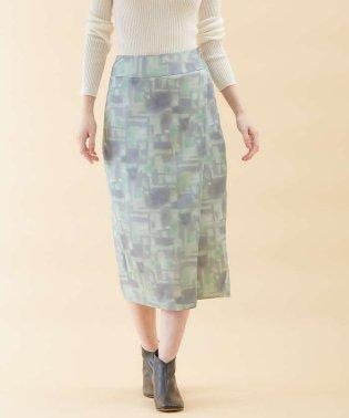 タイダイサテンタイトスカートパンツ