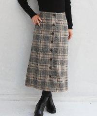 フロントボタンチェックセミタイトスカート