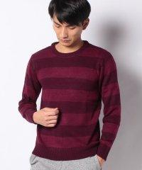 7ゲージアクリル天竺編みボーダーニットセーター