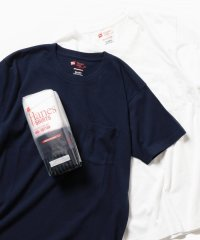Hanes×SHIPS: 別注 NEW Japan Fit COMFORT WEIGHT 5.3 with POCKET WHITE&BLACK/WHITE&N