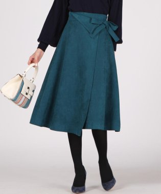 【WEB別注】スウェード調ラップフレアスカート