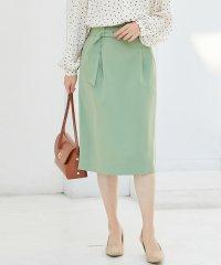 【EASY CARE】ハイウエストベルト付きタイトスカート