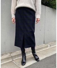 ウールチェックタイトスカート