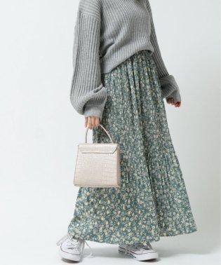 金箔花柄プリーツスカート