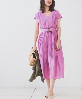 【natural couture】カシュクール2WAYプリーツワンピース