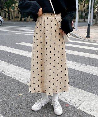 ドッド柄 プリーツスカート レディース ハイウエスト 水玉柄スカート ウエストゴム フレアスカート