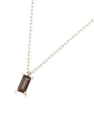 カラーストーン(スモーキークォーツ) バゲットカット ネックレス