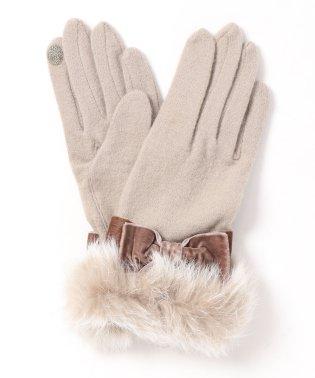 ラビットファー付き手袋(スマホ対応)