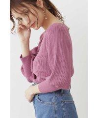 《田中みな実さん着用》◆[ウォッシャブル対応]ランダムリブマトンスリーブニット:ピンクWEB限定カラー