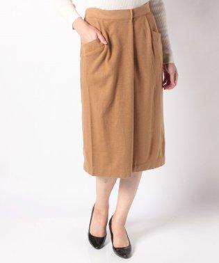 ウール混ポンチタックタイトスカート