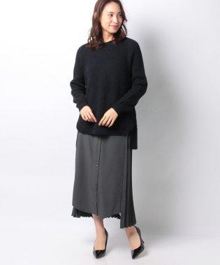 シャツ切替プリーツスカート付柄編みプルオーバー