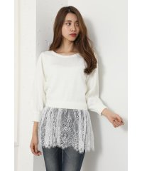 Lace peplum Knit TOP