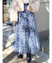 チュールフラワープリーツスカート