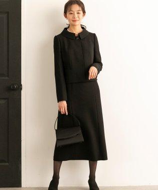 【喪服・礼服】ステンカラージャケット&タイトロングワンピース ブラックフォーマルセットアップスーツ