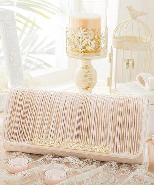 【結婚式・お呼ばれに使えるパーティーバッグ】ビジューラディアルサテンプリーツクラッチバッグ