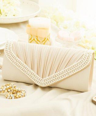 【結婚式・お呼ばれに使えるパーティーバッグ】プリーツラインパール&ストーンパーティークラッチバッグ