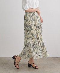 線花柄ジョーゼットプリーツスカート