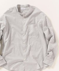 SHIPS any: ストライプ バンドカラーシャツ