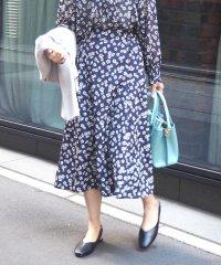 花柄プリントボタンデザインスカート
