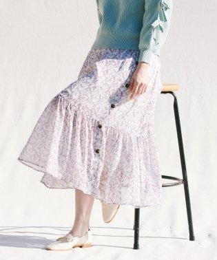楊柳シフォンフラワープリントスカート