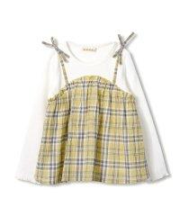 チェックキャミ重ね着風長袖トップス(80~150cm)