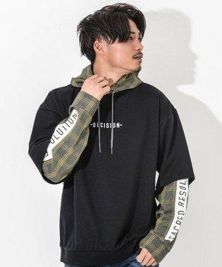 CavariA【キャバリア】チェック柄フード付き 長袖レイヤード Tシャツ
