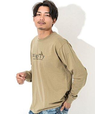 CavariA【キャバリア】USAコットン刺繍入りデザインプリント クルーネック 長袖 Tシャツ