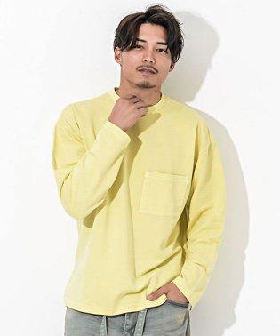 CavariA【キャバリア】ピグメント加工ポケット付き クルーネック 長袖 Tシャツ