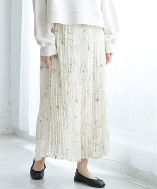 【WEB限定】線描きフラワープリーツスカート