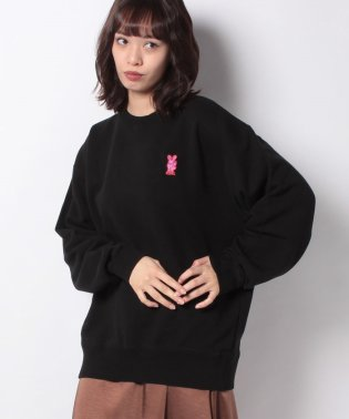 BUNNY EMBROIDERY CREW SWEAT TOP