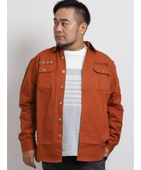 【大きいサイズ】グランバック/GRAND-BACK ツイルアイレット付長袖ミリタリーシャツ