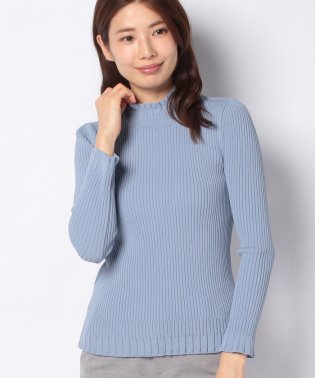 リブ編み ハイネックセーター