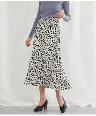 モノトーンフラワープリントプリーツスカート