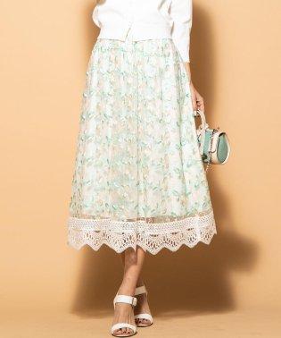 《洗濯機で洗える》裾レースフラワー刺繍チュールスカート
