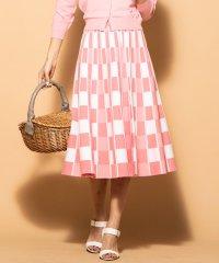 《手洗い可能》チェックジャガード配色ニットフレアスカート