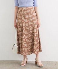 単色花柄サテンマーメイドスカート