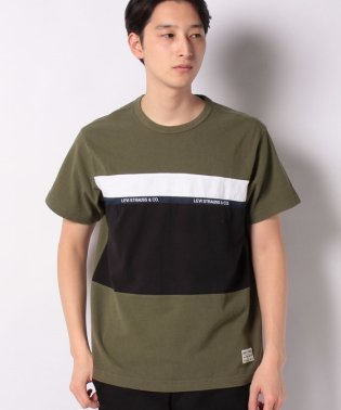 SS MIGHTY PIECED TEE TAPE APPLIQUE OLIVE