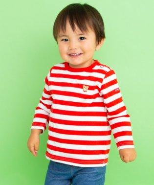 ボーダー×ワンポイント刺繍長袖Tシャツ(70~120cm)