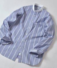 DC: バンドカラー ワイドストライプ ブルー シャツ