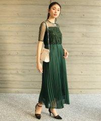 Rire Fete(リルフェテ) ドットチュールプリーツドレス
