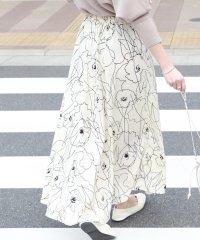 グラフィック花柄ロングスカート