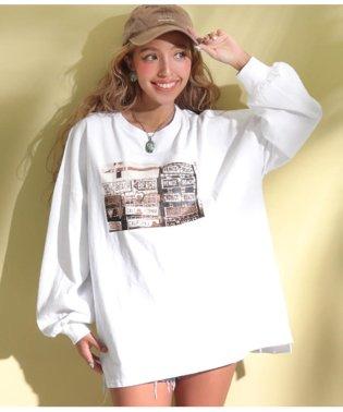 プレートプリントロングTシャツ
