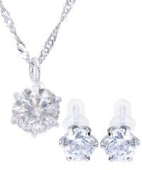 豪華2点セット!PT 天然ダイヤモンド 0.3ct 6本爪 プラチナネックレス&PT 天然ダイヤモンド 計0.6ct 6本爪 プラチナ スタッドピアス