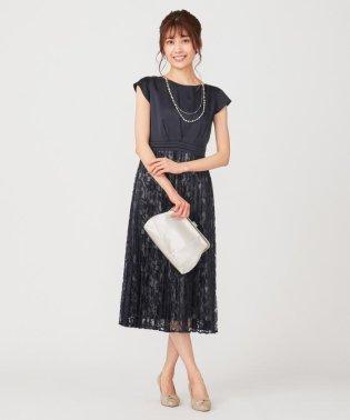 【洗える】フルールレースプリーツ ドレス