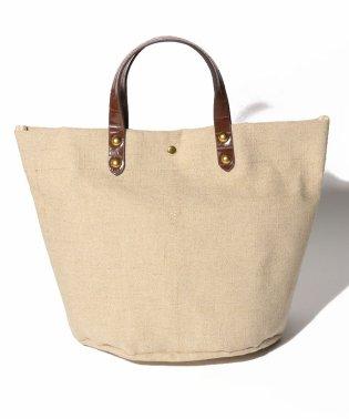 カシュカシュ cachecache / 異素材ハンドル綿麻キャンバストートバッグ