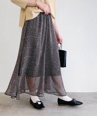 スモールフラワーラメフレアスカート